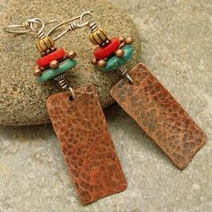 Ethnic Looking Hammered Copper Earrings with by marynewton on Etsy, $28.00