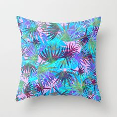 Tropicana - Blue Throw Pillow by Schatzi Brown  #tropical #floral