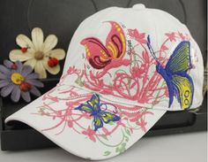 Korean Baseball Cap for Sun Hat Butterfly Flower Embroidery Outdoor Snapbacks Leisure Casquette