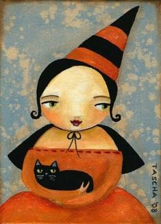WITCH and BLACK CAT halloween primitive folk art PRINT by tascha