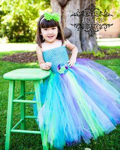 Newborn - Size 9 Peacock Inspired Tutu Dress