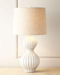 "bone white ceramic lamp with linen shade 30"" tall"