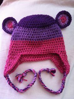 Crochet beanie with ear flaps and monkey ears
