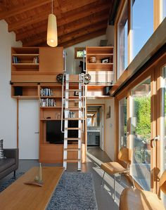 shed roof, narrow building... good ideas for loft sliding stair and privacy walls doubling as storage.