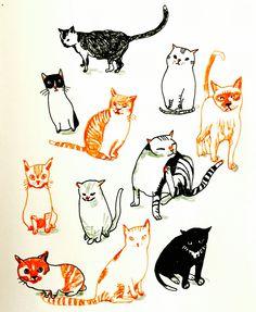 Cats by by Marie Åhfeldt, Mås Illustra. www.masillustra.se #illustration #cat #masillustra #pet #orange
