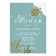 Ocean Theme Sea Turtle Baby Shower Invitation