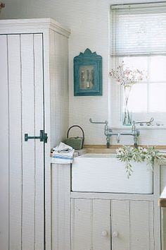 boxed fridge and farmer's sink...soft grey for cabinets...would go nice with blue and white