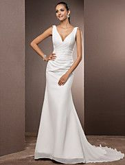 Sheath / Column Plunging Neckline Court Train Chiffon Over Satin Custom Wedding Dresses with Side-Draped by LAN TING BRIDE®