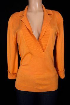 HUGO BOSS Sweater Size M Medium Orange Silk Cashmere V Neck Thin Soft Knit #HUGOBOSS #VNeck