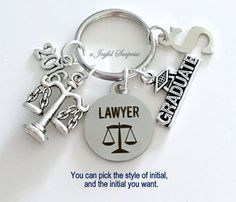 Law School Graduation Present, Lawyer Keychain, Gift for Law Student Graduate 2016, Bar Association Key Chain Grad Keyring Initial 2015 2017 by aJoyfulSurprise on Etsy