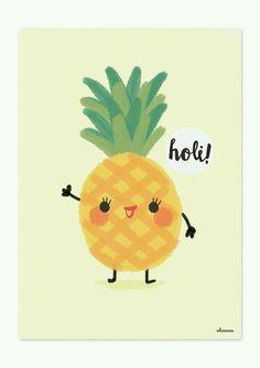 Anana/Pineapple KAWAII Cute Wallpapers, Wallpaper Backgrounds, Iphone Wallpaper, Kawaii Drawings, Cute Drawings, Pineapple Yoga, Kawaii Pineapple, Holi, Cute Illustration