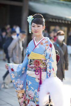 Kimono beauty, Seijin no hi, Coming of Age Day at Meiji Shrine.