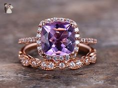 2pcs Amethyst wedding ring set!8mm Cushion Engagement ring,petite rose gold plated,925 sterling silver stacking CZ Bridal ring,matching band,Women Halo ring,Man Made diamond CZ ring,any size - Wedding and engagement rings (*Amazon Partner-Link)