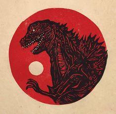 Items similar to Godzilla Resurgence Block Print on Etsy Godzilla Resurgence, Godzilla Tattoo, Linocut Prints, Illustrations And Posters, Japanese Art, Easy Drawings, Printmaking, Art Projects, Illustration Art