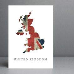 Flag Map of United Kingdom Print. 8x10 on A4 by silvermoonprints