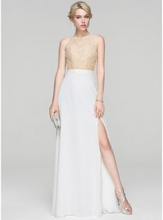 A-Line/Princess Scoop Neck Floor-Length Chiffon Prom Dress With Split Front