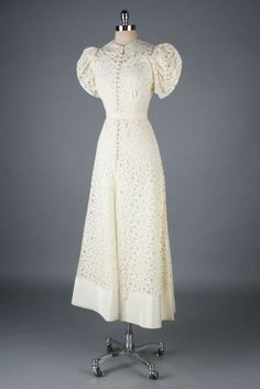 Wedding Dress: ca. 1930's, Battenburg lace, puff sleeves, covered ...