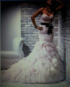 Wedding dress black sash