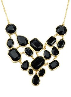 Shop Black Gemstone Gold Splice Necklace online. Sheinside offers Black Gemstone Gold Splice Necklace & more to fit your fashionable needs.