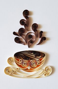 Quilled Art Coffee Cup Paper Art Coffee Wall Decor Coffee Mug Coffee Sign Coffee Art Coffee Lovers Birthday gift Quilling Art Paper Quilling Cards, Paper Quilling Patterns, Quilled Paper Art, Quilling Paper Craft, Quilling Jewelry, Quilling Ideas, Quilling Flowers Tutorial, Quilling Comb, Paper Quilling Flowers