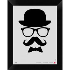 Naxart 'Hats Glasses and Moustache Framed Graphic Art Print on Canvas Size: H x W x D Handlebar Mustache, Stencils, Wall Art Prints, Canvas Prints, Mothers Day Quotes, Cool Posters, Custom Framing, Brown And Grey, Canvas Fabric
