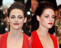 Kristen Stewart..lovely modern red lips w/ glittery shadow