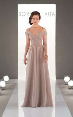 This elegant boho bridesmaid gown style by Sorella Vita is perfectly romantic. The slight V neck is accentuated perfectly with off-the-shoulder straps.