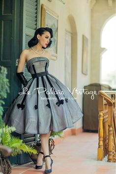 FREE SHIPPING Le Palais Vintage vintage elegant classic 1950 bow strapless dress/gray