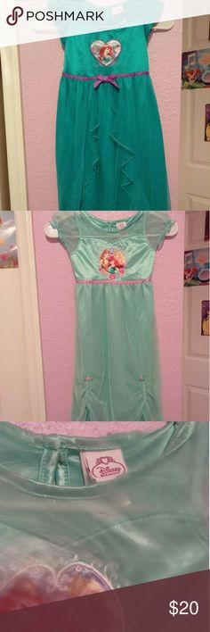 TWO ARIEL DISNEY PRINCESS NIGHT GOWNS !!! One teal one with purple bow and one seafoam green with pink roses.These are from Target so they're very good quality. I didn't ever dry them. They're long and flowy and very lived in. My girls would want to wear these all day!! They're so pretty and fun!Netting is soft material is super soft and they are warm. The teal one does have a rip up the skirt but you can't really tell  I can take a pic if requested. DISNEY Pajamas