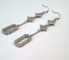 Silver Diamond Pave Dangle Earrings by WOWTHATSBEAUTIFUL on Etsy