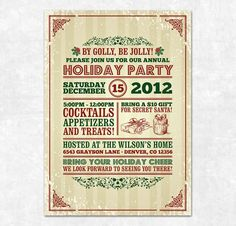Printable Christmas Invitation  Holiday Party by SweetDStationery, $15.00