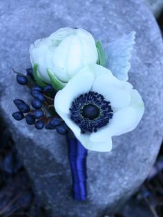 anemone boutonniere bud shape idea but with eucalyptus spray instead of blue buds Prom Flowers, Blue Wedding Flowers, Flower Bouquet Wedding, Floral Wedding, Wedding Blue, Anemone Wedding, Navy Blue Flowers, Sister Wedding, Wedding Rustic