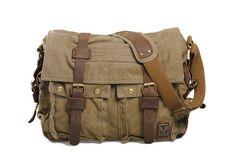 13'' Canvas Leather Messenger Bag Crossbody Bag Shoulder Bag Laptop Bag 2138 ****************************** We use selected thick genuine...