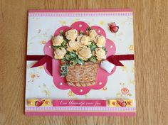 3D card basket with yellow roses - 3D kaart mand met gele rozen