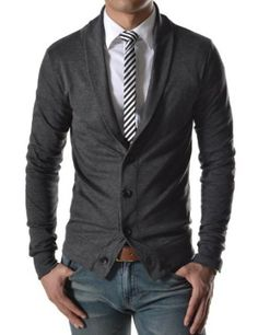 gray cardigan. white oxford. gray striped skinny tie. brown belt. jeans. weekender. casual. southern. style.