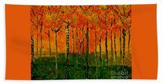Autumn Bath Sheet featuring the painting Autumn Woods by Scott Hervieux