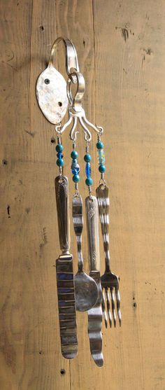 Silverware wind chime - too cute!