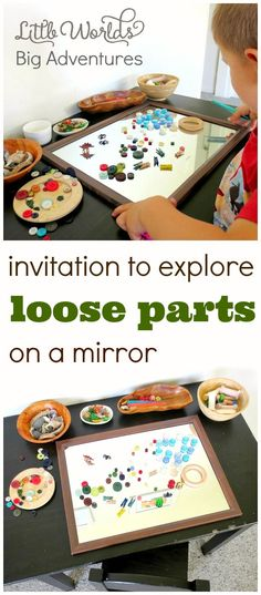 Invitation to Explore Loose Parts on a Mirror – Little Worlds – Childcare Play Based Learning, Learning Through Play, Early Learning, Learning Games, Kids Learning, Reggio Inspired Classrooms, Reggio Classroom, Reggio Emilia Preschool, Outdoor Classroom