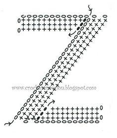 Crochet pillow letter Z Crochet Motifs, Crochet Diagram, Basic Crochet Stitches, Crochet Chart, Crochet Basics, Love Crochet, Crochet Doilies, Crochet Flowers, Knit Crochet