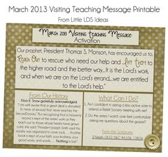 Little LDS Ideas: March 2013 Visiting Teaching Message Printable