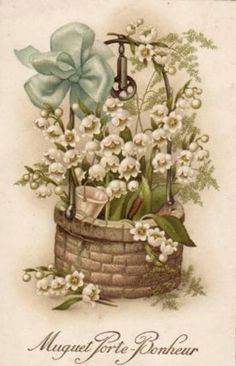 lily of the valley and a wishing well Images Vintage, Vintage Pictures, Vintage Cards, Vintage Postcards, Decoupage, Vintage Flowers, Vintage Floral, May Birth Flowers, 1. Mai