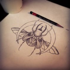 Bringer of the moon...... #drawing #sketch #pencil #beetle #moon (at Anonymous Tattoo)