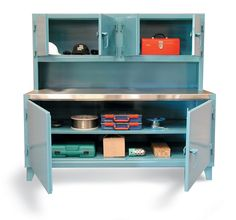 Workstation with Upper Compartment and Stainless Steel Top - Cabinet workstations with 2 upper compartments and 1 lower big compartment. Each compartment can be locked with a padlock using our locking device. Stainless Steel Cabinets, Bathroom Medicine Cabinet, Bookcase, Hold On, Shelves, Storage, Big, Home Decor, Purse Storage