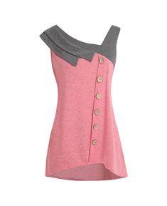 Tronet Summer Vest Tops Women Fashion Plus Size Skew Neck Asymmetric Tank Top Sleeveless Button T-Shirt Plus Size Womens Clothing, Plus Size Outfits, Plus Size Fashion, Clothes For Women, Dungaree Dress, Plus Size Tank Tops, Mode Plus, Plus Size Kleidung, Kurta Designs