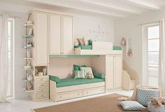 Remarkable Kids Bedroom Design Ideas With White Wall And Drop Cloth Window Curtain Combine With Bunk Bed Built In Cup Board Featuring Storage Drawers Under Bed And Storage Drawers Under Stair Complete With Brown Carpet And Hanging Shelves of Enticing Kids Bedroom Design Ideas 2015  Pottery Barn Kids Furniture Room Decor Children's Bedroom Designs Kids Bedroom Design Pictures Kids Room Decorations . 600x407 pixels