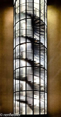 Glass Encased Spiral Exterior  Staircase  -  TUDelft Architecture
