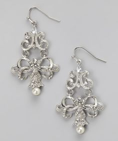 Take a look at this Silver & Cream Pearl Lacy Filigree Chandelier Drop Earrings by Lolita on #zulily today! Only $16.99 Sale ends in 2 days, Limited Qty!