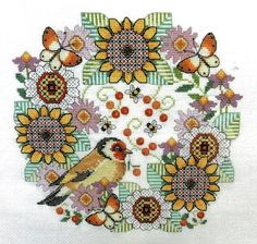 Blackwork Flowers with Goldfinch - cross stitch pattern by Lesley Teare - A colourful picture of this little garden bird with stylised sunflowers, bees and butterflies. Blackwork Cross Stitch, Blackwork Embroidery, Cross Stitches, Hand Embroidery, Cross Stitch Patterns, Blackwork Patterns, Black Work, Goldfinch, Dmc Floss