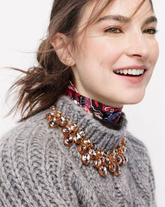 J.Crew women's collection Italian cashmere-mohair cable mock neck sweater, jewel box necklace and Italian silk scarf in paisley.
