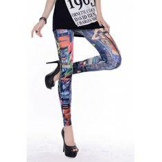 USD4.992013 Fashion-forward Scrawl Print Mid Leggings